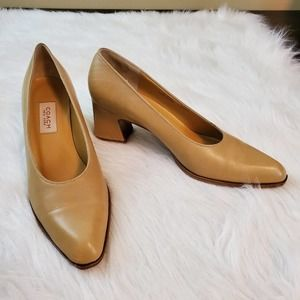 Coach Sz 8.5AA Leather Pumps Made in Italy